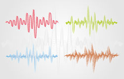 Set of colour vector sound waves. Audio equalizer technology, pulse musical. Royalty Free Stock Photography