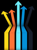 Set of coloured arrows going up on black background. 3D Illustration of a Set Of Multicoloured Arrows Going Up with a Step Over Black Background Stock Images