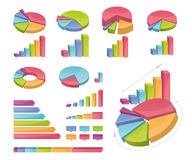 Set Of Coloured Charts. Vector icons of various charts and diagrams. All made with bright gradients Stock Photography