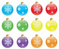 Set of coloured christmas decorations Stock Photo