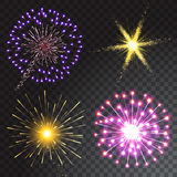 Set of coloured firework isolated on transparent background. Vector illustration Stock Images