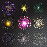 Set of coloured firework isolated on transparent background. Vector illustration royalty free illustration