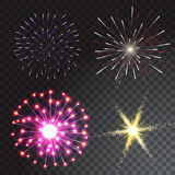 Set of coloured firework isolated on transparent background. Vector illustration Stock Image