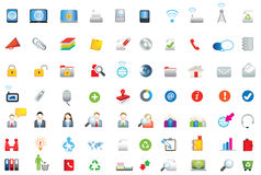 Set of coloured flat business, data and environment icons Stock Image