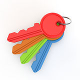Set of coloured keys from above Stock Photos