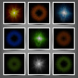 Set of coloured luminous halftone banners Royalty Free Stock Photos
