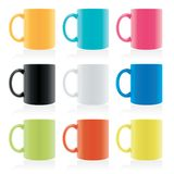 Set of coloured mugs. Set of same shape but different mixed coloured mugs, vector illustration vector illustration