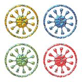 Set of coloured ornaments - yellow, blue, green and red. Colours Royalty Free Stock Photo