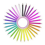 Set of coloured pencil. Pencils are aligned in a circle shaped and sorted Stock Photo