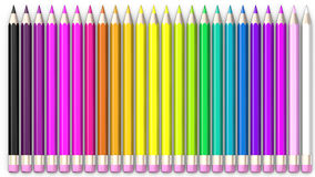 Set of coloured pencil. Pencils are aligned and sorted. Using rainbow colours Royalty Free Stock Photos