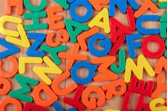 Set of coloured plastic letters and numbers.  royalty free stock images