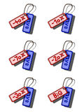 Set of coloured sale tags. Set of blue and red sale tags Royalty Free Stock Images