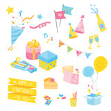 Set of colourful birthday party stuffs.vector illustration. Set of colourful birthday party stuffs Royalty Free Stock Image