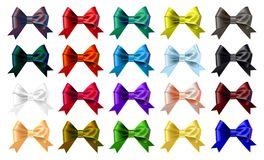 Set of the colourful bows royalty free stock image