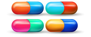 A Set of Colourful Capsule. Illustration Vector Illustration