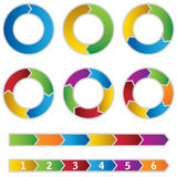 Set of colourful Circle Diagrams and arrows Royalty Free Stock Photo