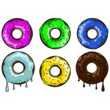 A set of colourful doughnuts in the glaze. A set of colourful doughnuts Royalty Free Stock Image