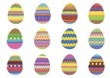 Set of 12 colourful Easter eggs on a white background royalty free stock image