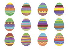 Set of 12 colourful Easter eggs on a white background stock images