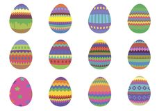 Set of 12 colourful Easter eggs on a white background royalty free stock images
