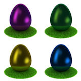 Set: colourful eggs on a grass Stock Photography