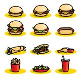 Fast food Icons - Illustration. A set of colourful  fast food icons on a white background Royalty Free Stock Photos