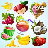 Set of colourful fruit ice cream and cocktail. Set of exotic fruit. Vector illustration Stock Photo