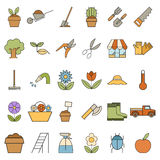 Set of colourful garden icons Royalty Free Stock Photo