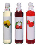 Set of colourful juice bottles. Isolated on white Stock Images