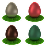 Set: colourful matte eggs on a grass Royalty Free Stock Photo