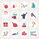 Set of colourful New Year icons Royalty Free Stock Photo