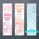 Set of colourful outlined Valentine's banners. Royalty Free Stock Photography
