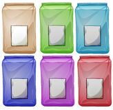 Set of colourful pouches Stock Photos