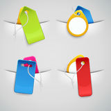 Set of colourful price tags in the pockets. Various price tags in the pockets, suitable as retail icons Royalty Free Stock Image