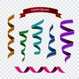 Set of colourful ribbons. On checked background Stock Images