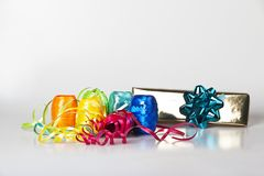Set of colourful ribbons and a christmas  gift Royalty Free Stock Image