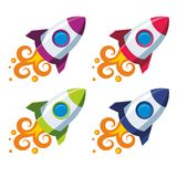 Set of colourful rockets. Vector rocket in four color schemes on white background Royalty Free Stock Photography