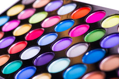 The set of colourful shadow for make-up isolated on white Royalty Free Stock Photos