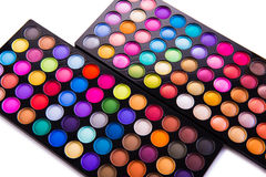 The set of colourful shadow for make-up isolated on white Royalty Free Stock Photography