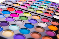 The set of colourful shadow for make-up isolated on white Stock Photos