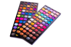 The set of colourful shadow for make-up isolated on white Royalty Free Stock Photo