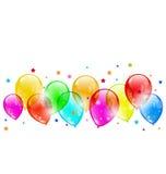 Set colourful shiny balloons isolated on white bac Stock Image