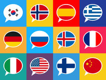 Set of colourful speech bubbles with different countries flags. Languages concept illustration. Royalty Free Stock Images