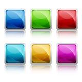 Set of colourful square glass botton Stock Photo