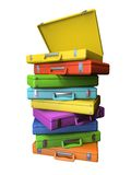 Set of the colourful suitcases. Isolated on white background 3D rendering Stock Images