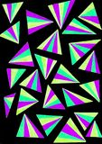 Gel pen drawing of colorful triangles. A set of colourful triangles hand drawn with gel pens Stock Photography