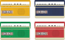 Set of 4 colourful vintage retro tape recorders Royalty Free Stock Images
