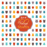Set of 100 colourful vintage shields. Stock Photos