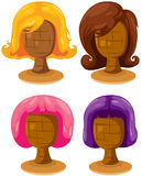 Set of colourful woman wigs Royalty Free Stock Images