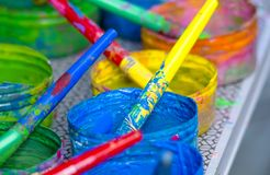 Set of colours to paint rainbow. Drawings tools to paint the world royalty free stock photography